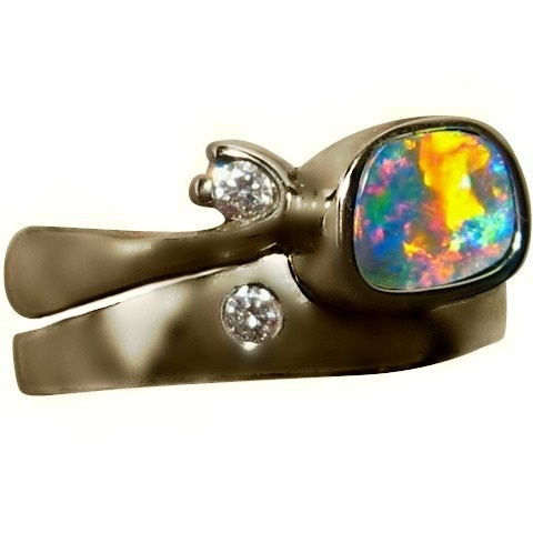 Opal Diamond Engagement Wedding Ring Set 14k Gold Blue Red Gem