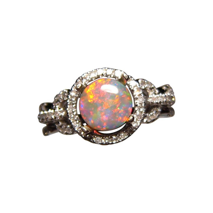 Round Red Opal Ring Diamonds Gold Opal Diamond Rings