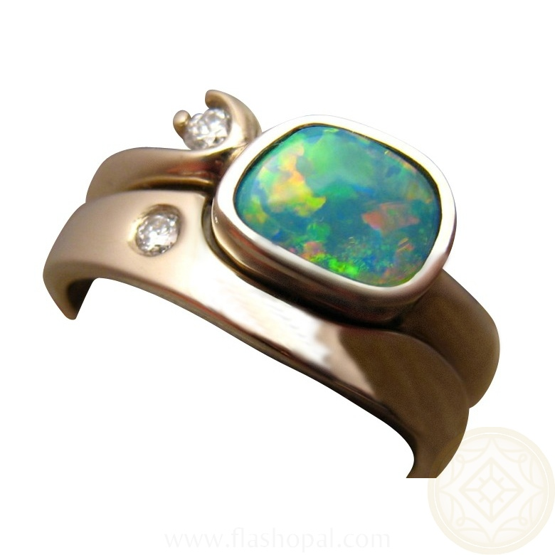 Colorful Opal Diamond Engagement Wedding Ring Set 14k Gold