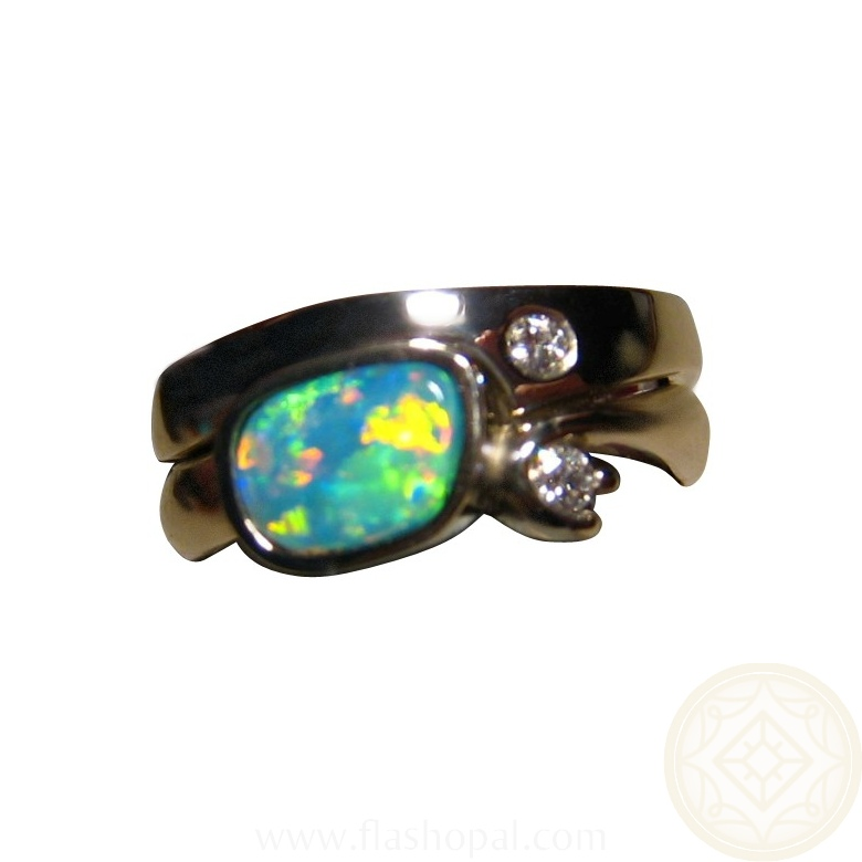 Opal Engagement Wedding Ring Diamond accent