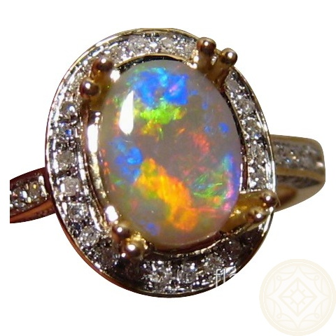 Opal Diamond Ring 14k Gold Colorful Oval Opal Rings