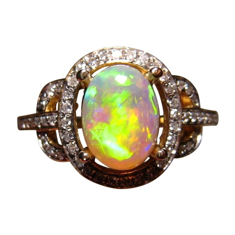 orange semi black opal diamond ring 14k gold - Black Opal Wedding Rings