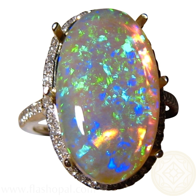 Opal Gold Ring with Diamonds Green and Blue Stone