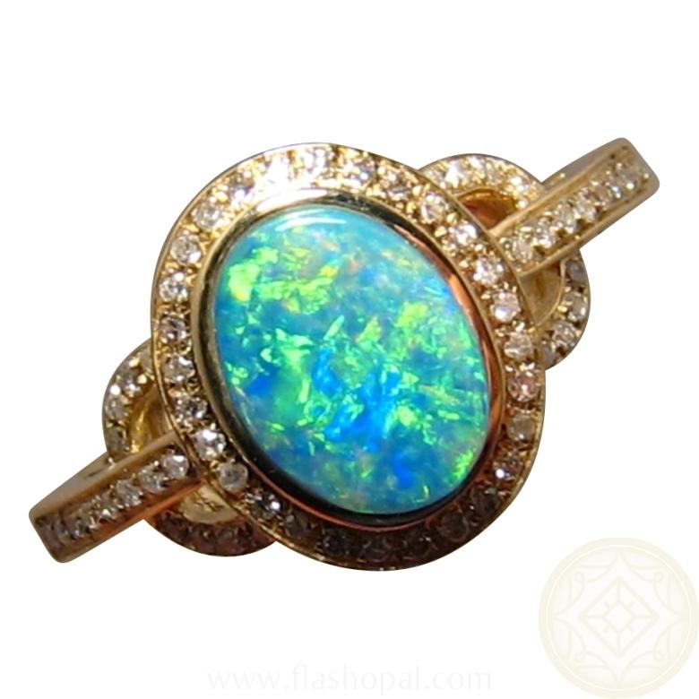 Opal Diamond Ring 14k Gold Natural Green Crystal Gem