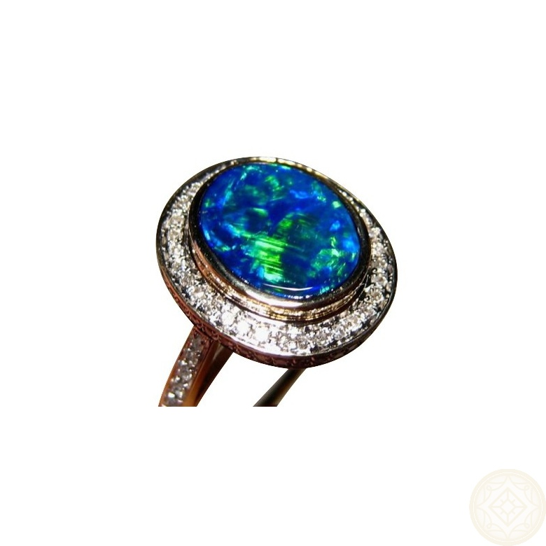 Blue Opal Ring Diamonds 14k Gold Inlay Opal Rings
