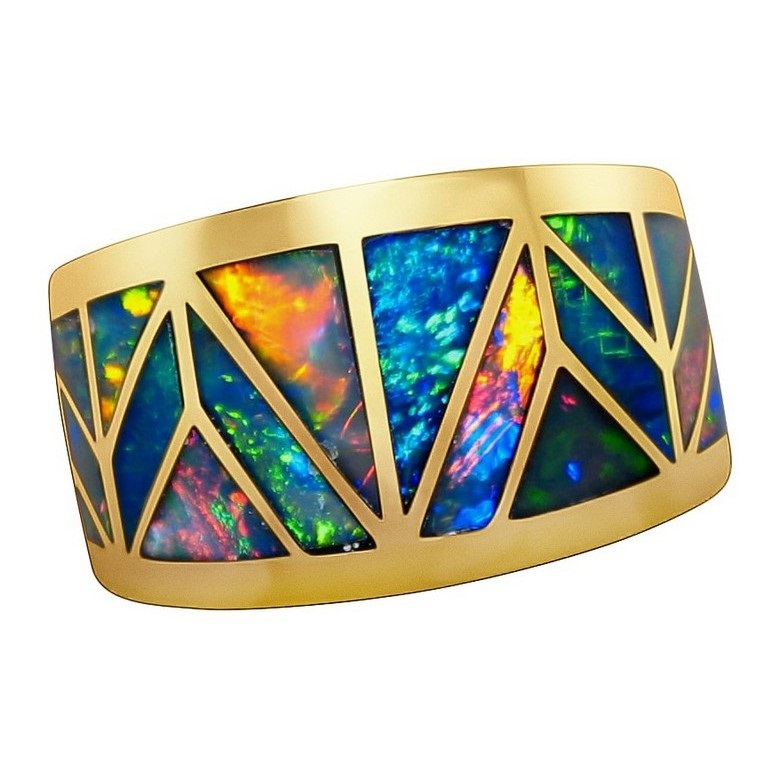 Mens Opal Ring Geometric Inlay Wide 14k Opal Rings Men