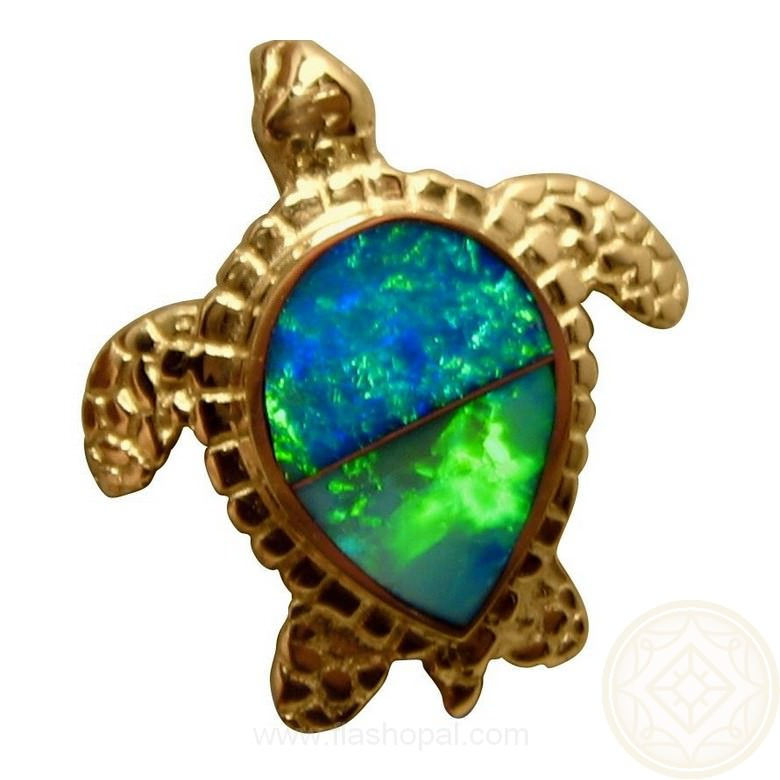 Opal pendant 14k yellow gold sea turtle flashopal gold turtle pendant with australian opals aloadofball Image collections