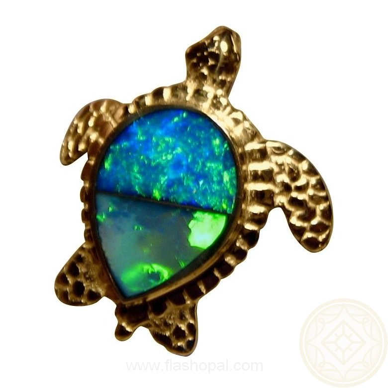 Opal Pendant 14k Yellow Gold Sea Turtle Flashopal