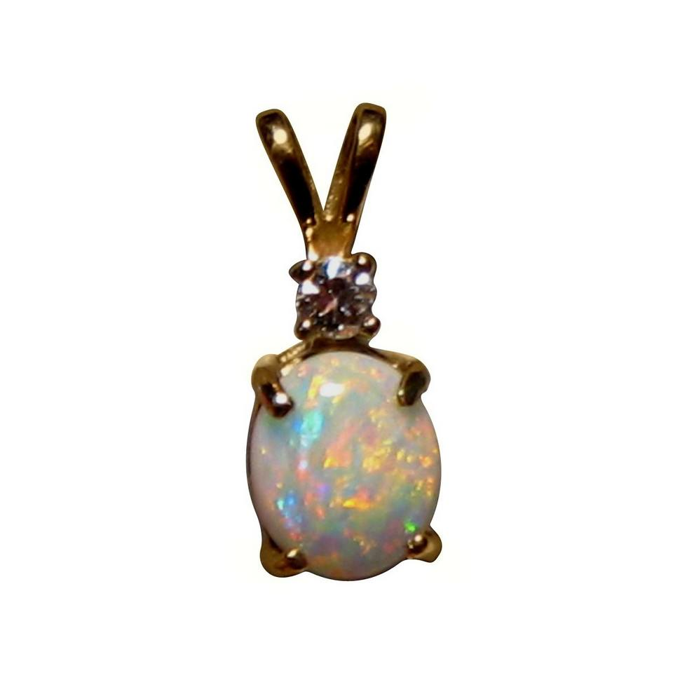 White opal pendant one diamond 14k gold flashopal white opal pendant single diamond 14k yellow gold aloadofball Image collections