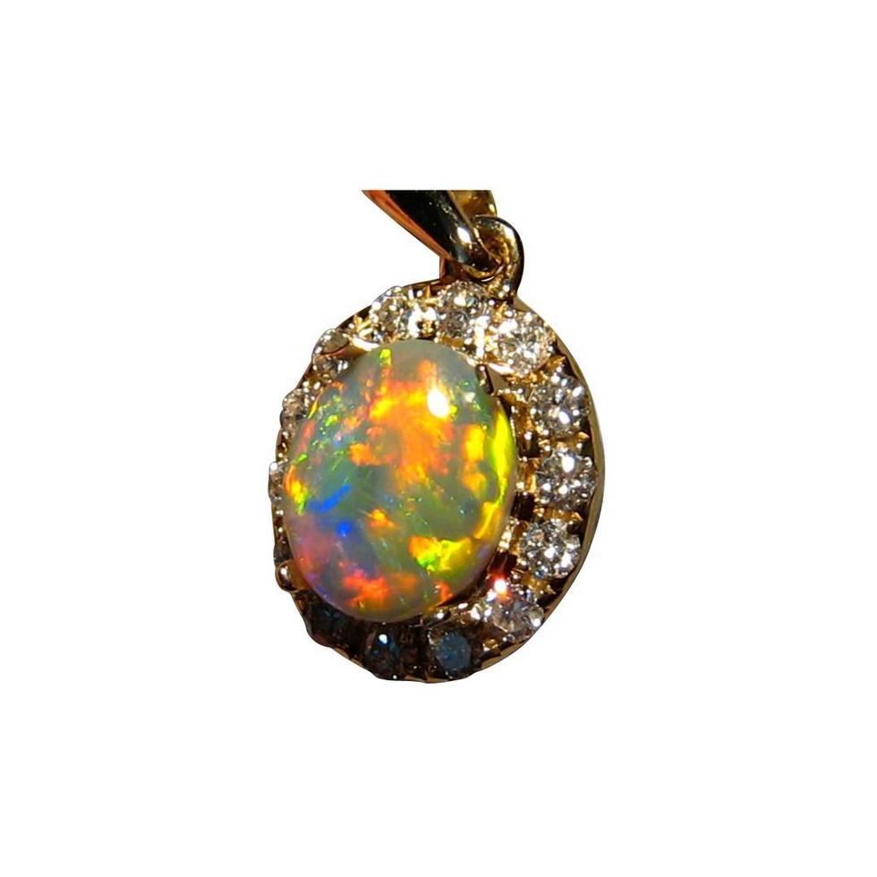 Extreme Red Opal Pendant With Diamonds Flashopal