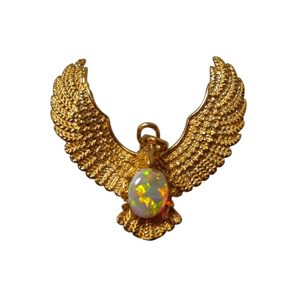 22k Gold Eagle Opal Pendant Natural Opal Pendant FlashOpal