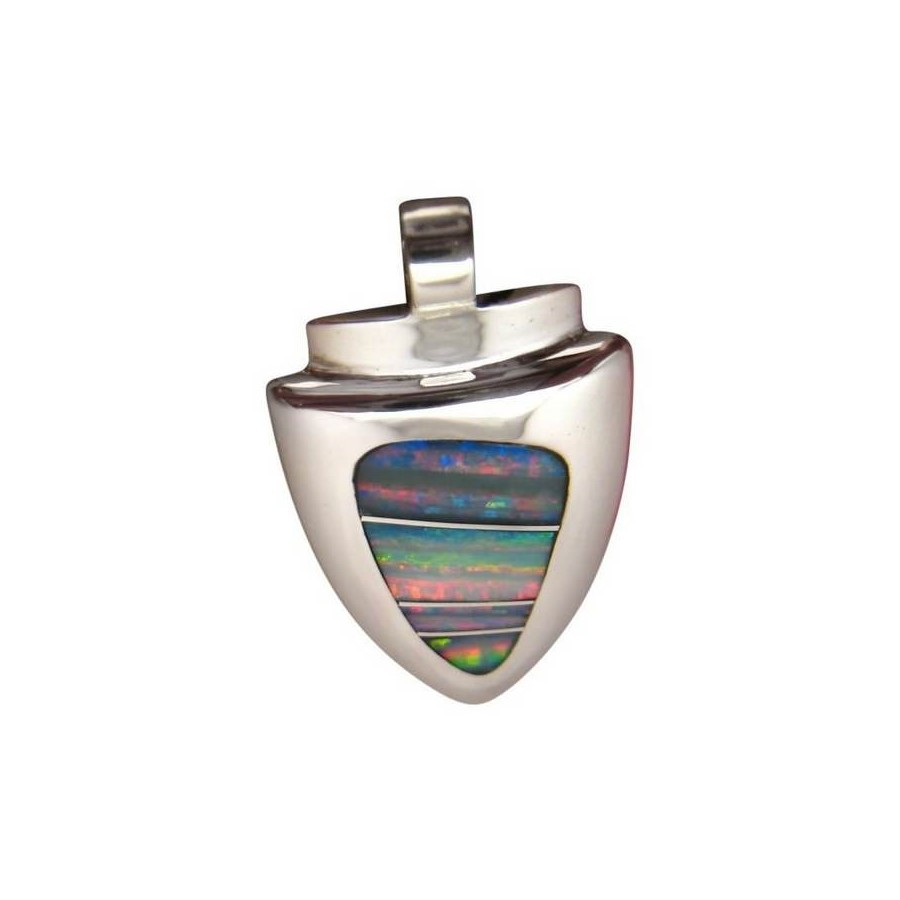 Inlay opal pendant large heavy silver arrowhead flashopal large opal silver pendant custom design arrow head 925 sterling aloadofball Choice Image