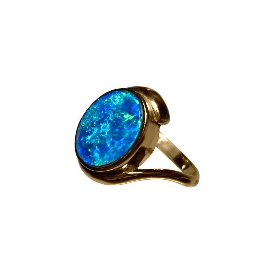 blue opal ring 14k gold oval flashopal