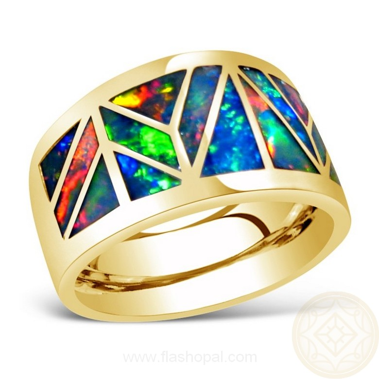 Mens Opal Ring Geometric Inlay Wide 14k Gold Flashopal