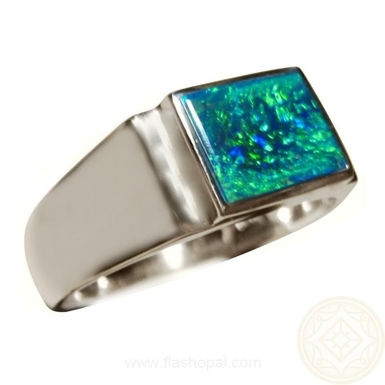 Mens Opal Ring Emerald Green Rectangle Opal Rings Men