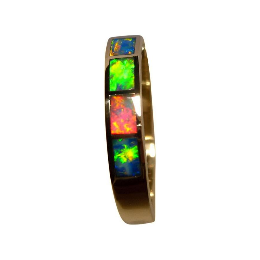 K Yellow Gold Ring With Opal Inlays