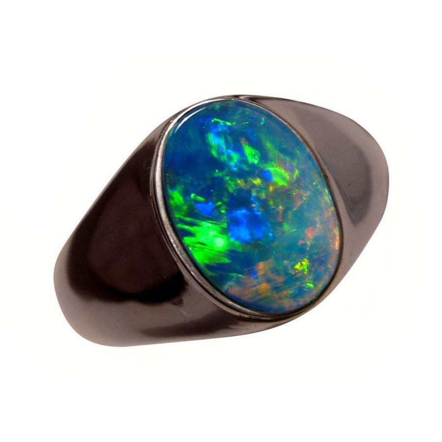Mens Solitaire Opal Ring 14k Wide Band Mens Opal Rings FlashOpal