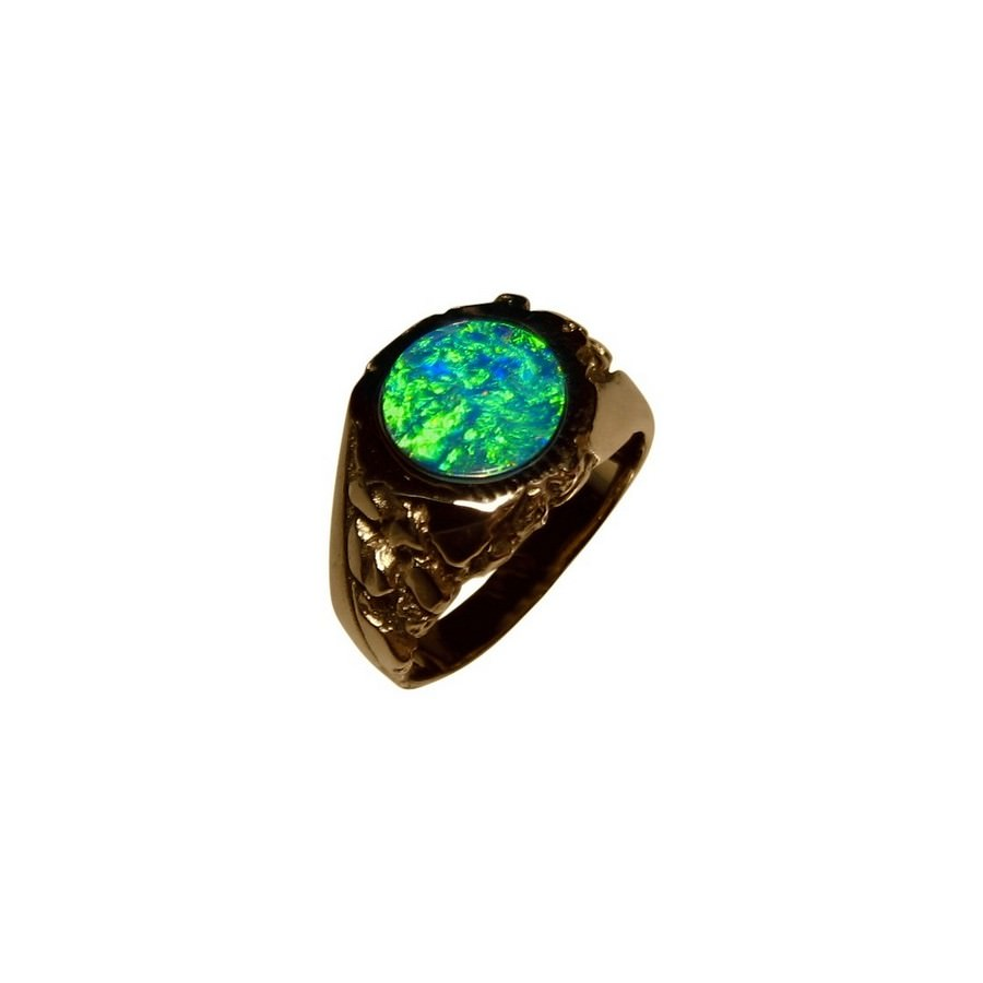 Mens Green Opal Ring Textured Heavy 14k Gold | FlashOpal