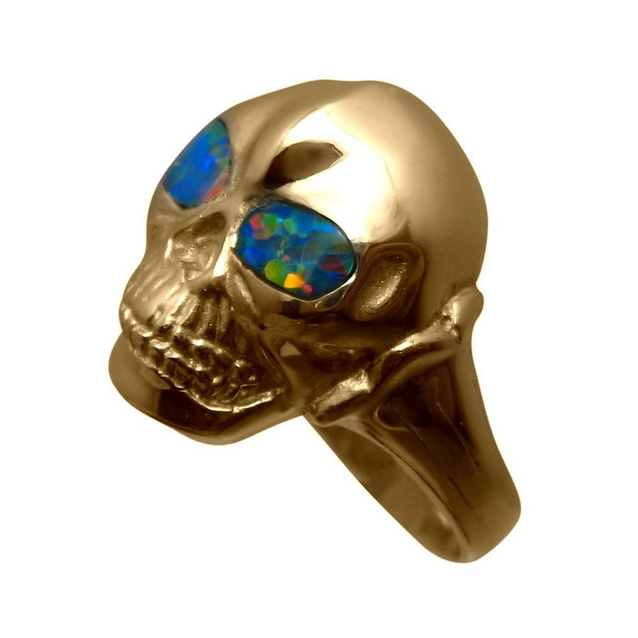 Skull Ring Red Opal Eyes 14k Gold Flashopal