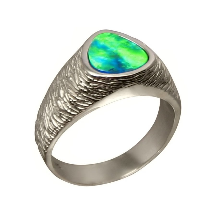 electric opal ring for ribbed 925 silver flashopal