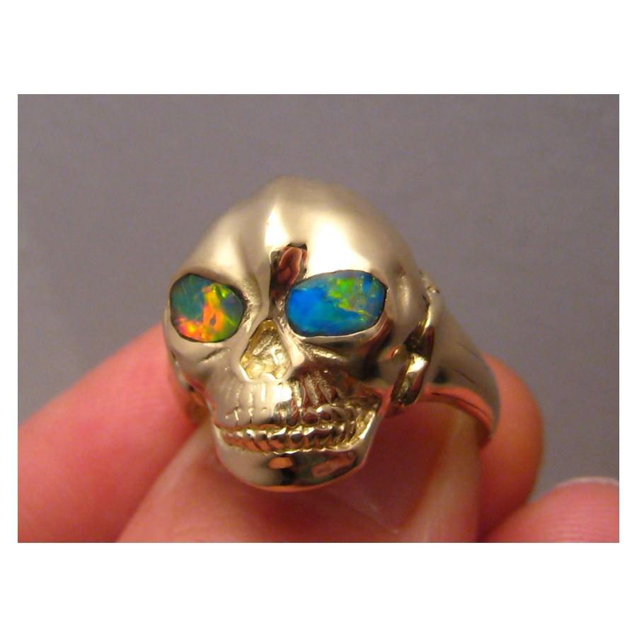 Mens Opal Skull Ring 14k Gold Mens Opal Rings Flashopal