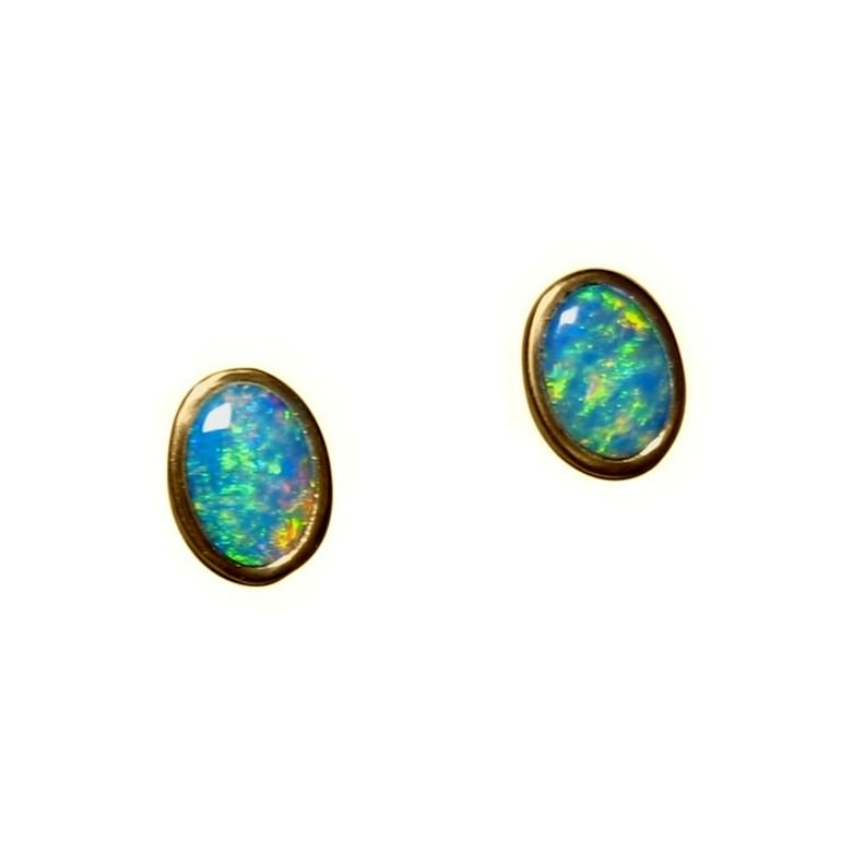 Opal Stud Earrings 14k Gold Ovals Inlay Flaal
