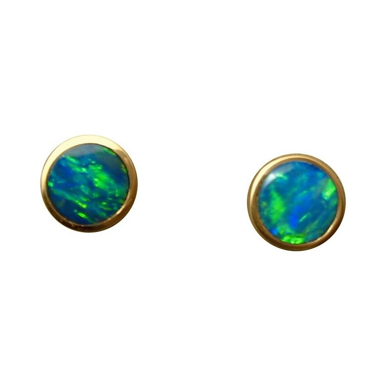 b0109bd4bc881 Round Opal Stud Earrings 14k Gold