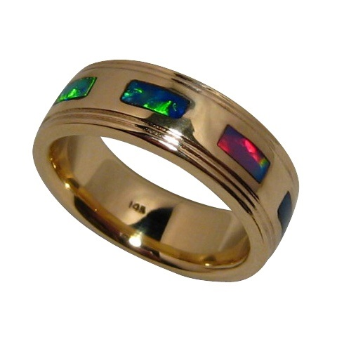 Mens Opal Ring 14k Gold Ribbed Edges Mens Opal Bands Flashopal