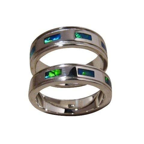 Matching Opal Inlay Wedding Rings Sterling Silver Bands