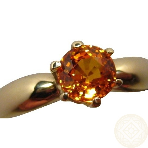 Orange Sapphire Ring 14k Gold Flashopal