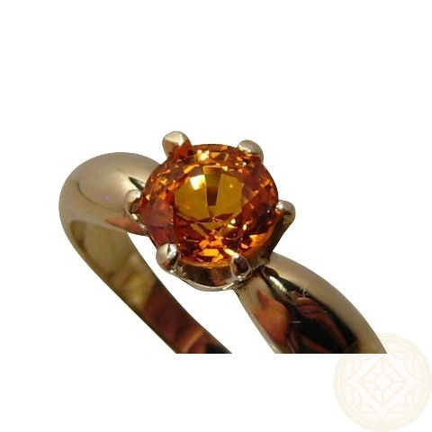 Orange Sapphire Ring 14k Gold Flashopal