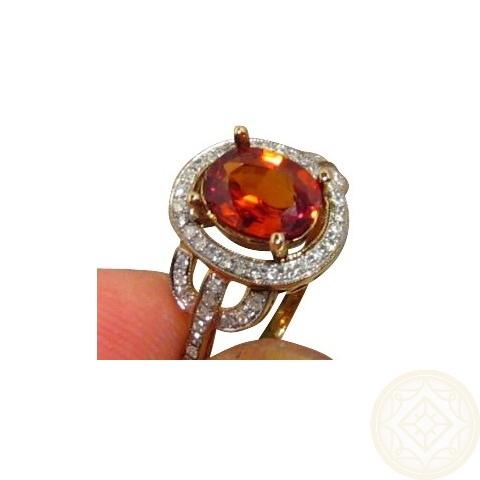 Orange Spessartite Diamond Ring 14k Spessartite Rings