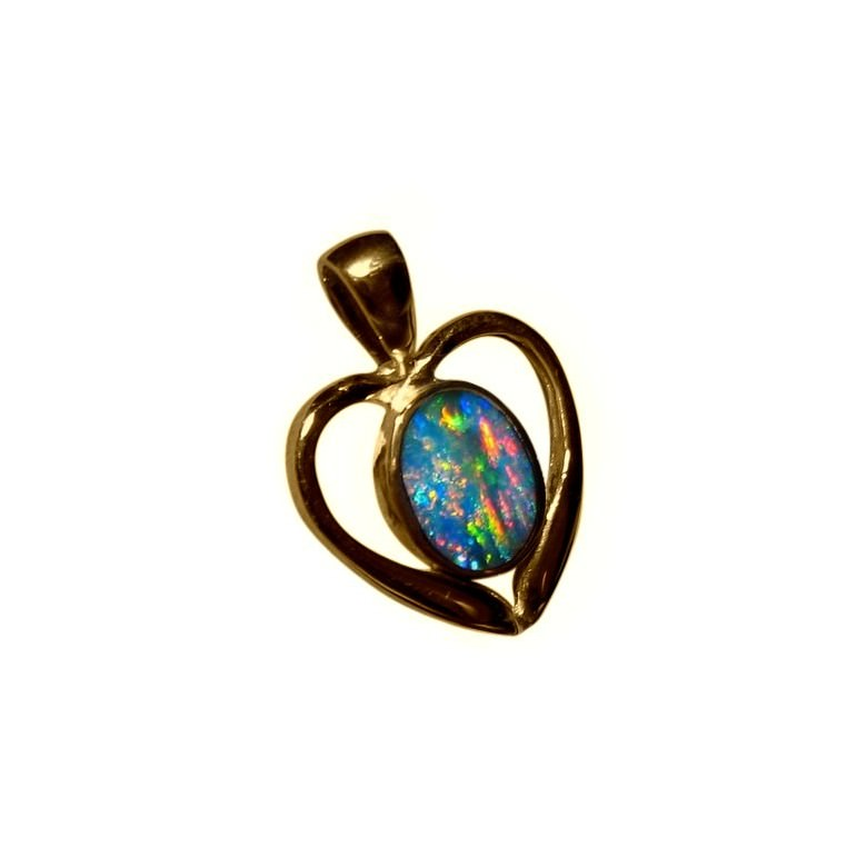 Opal love heart pendant 14k yellow gold flashopal necklace opal heart jewelry for women ideal gift to buy aloadofball Choice Image