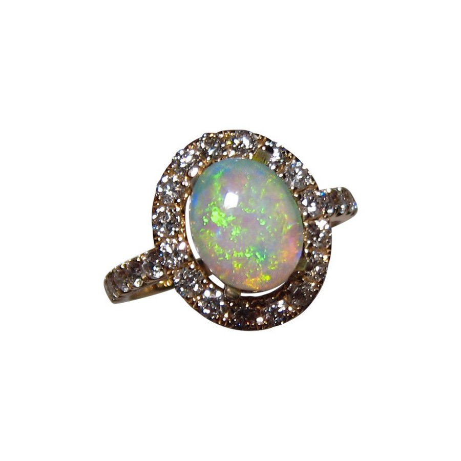 green yellow opal ring with 2 mm diamonds 14k gold flashopal