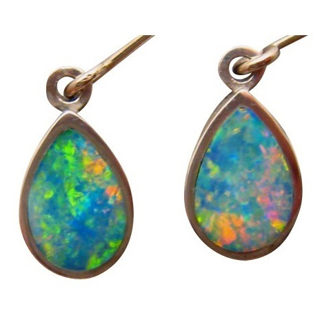 Tear Drop Opal Dangling Earrings 925 Sterling Silver