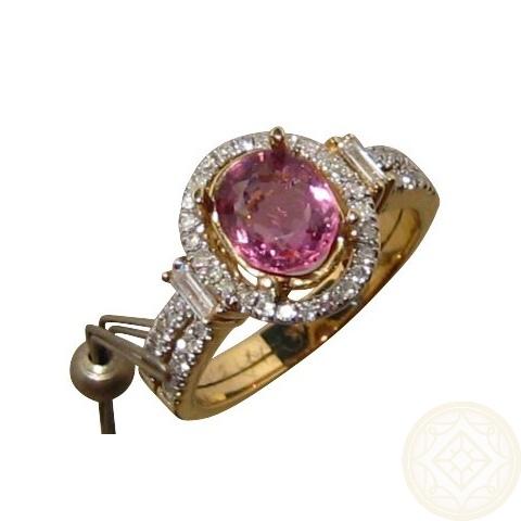Pink Spinel Diamond Ring Natural Pink Gem Flashopal