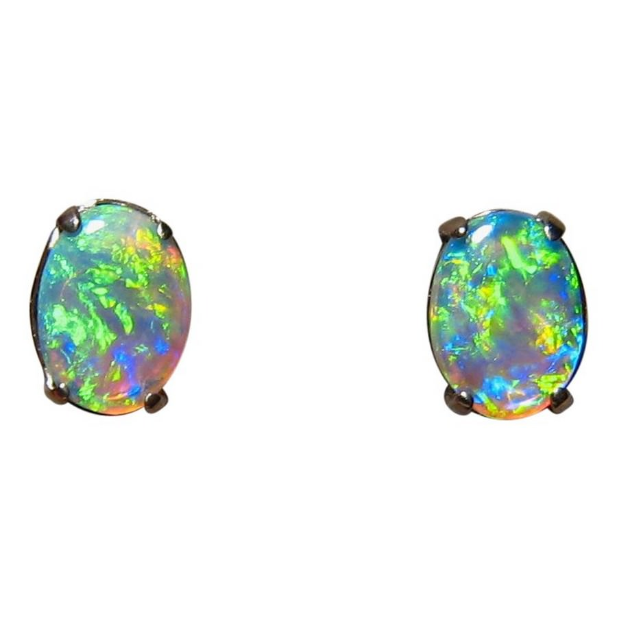 real round jewelry silver cz earrings sterling opal stud