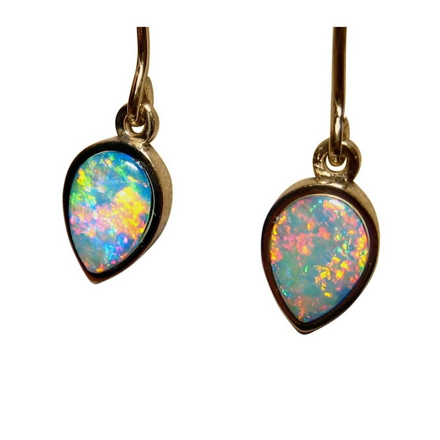 earrings opal flashopal gold dangler jewelry real short drop australian
