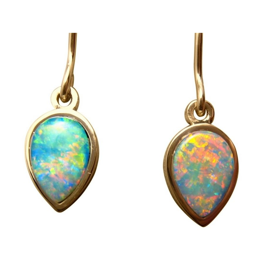 real earrings oval opal stud gold