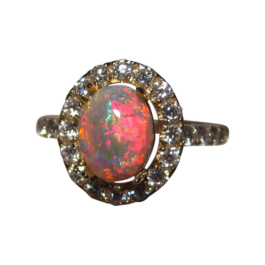 Red Opal 14k Gold Ring Diamonds Opal Engagement Ring