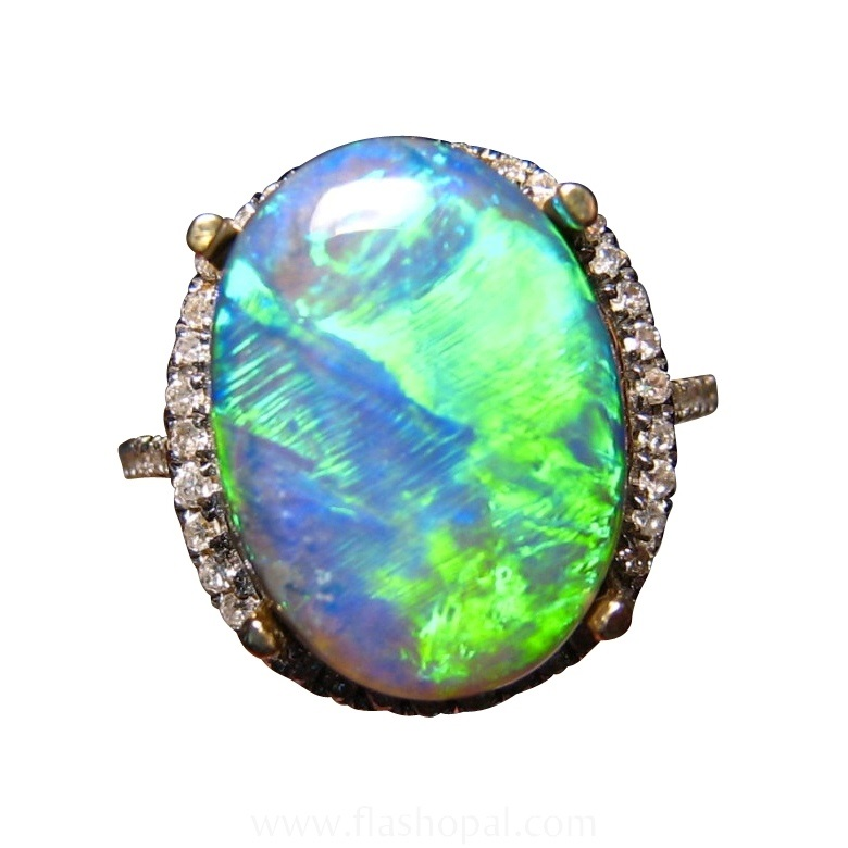 5 9 Carat Black Opal Diamond 14k Gold Ring