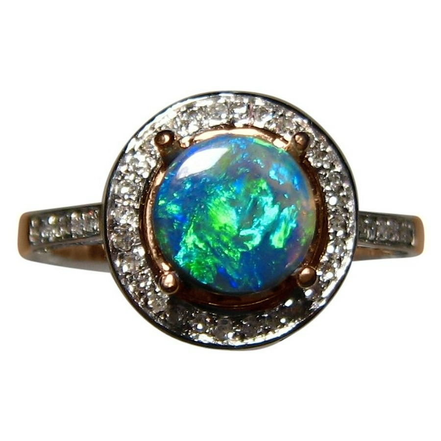black diamond engagement opal rings ring