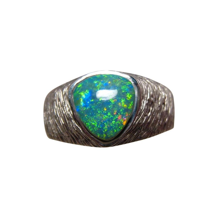 Mens Opal Ring Ribbed 14k Gold Nugget Opal Rings Men FlashOpal
