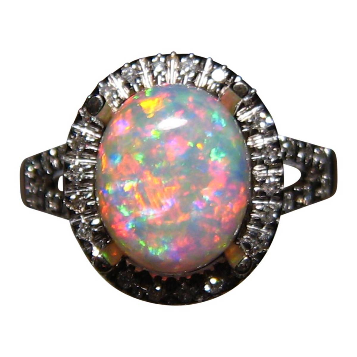 Red And Blue Opal Ring With Diamonds 14k Gold Flashopal