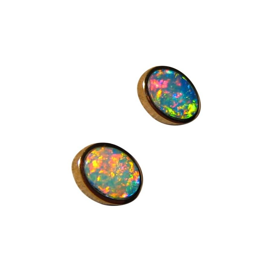 real genuine earrings flashopal green diamond australia gold opal stud blue