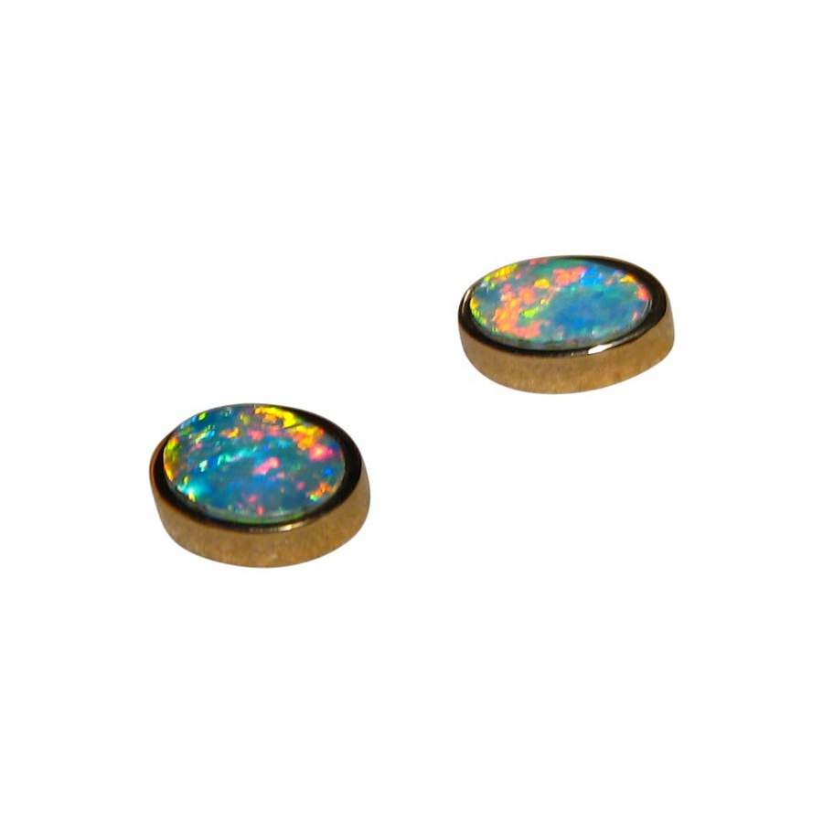 real earrings oval stud jewellery studs gems genuine opal gold bright flashopal colorful