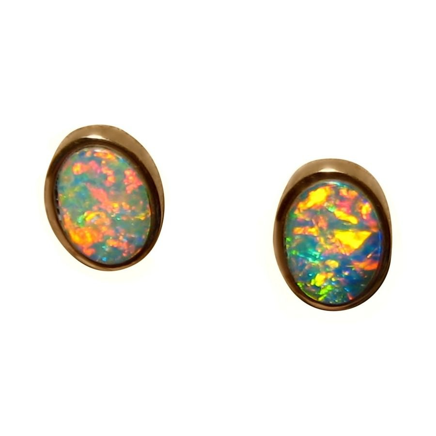 oval gold real opal earrings flashopal white australia studs stud jewelry blue