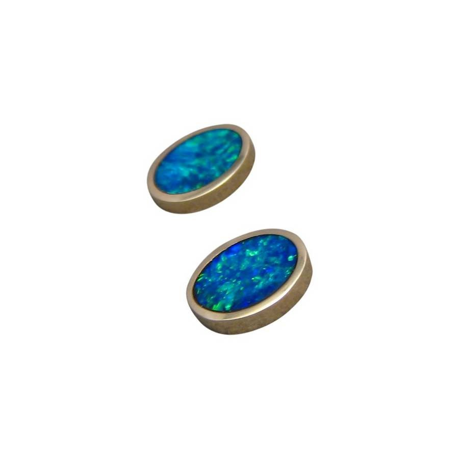 oval studs flashopal stud earrings gold colorful real gems jewellery opal genuine bright