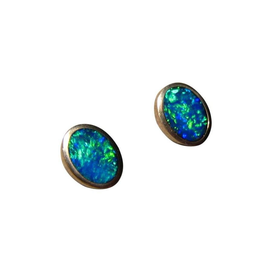 stud colorful bright gems flashopal jewellery gold studs real oval earrings opal