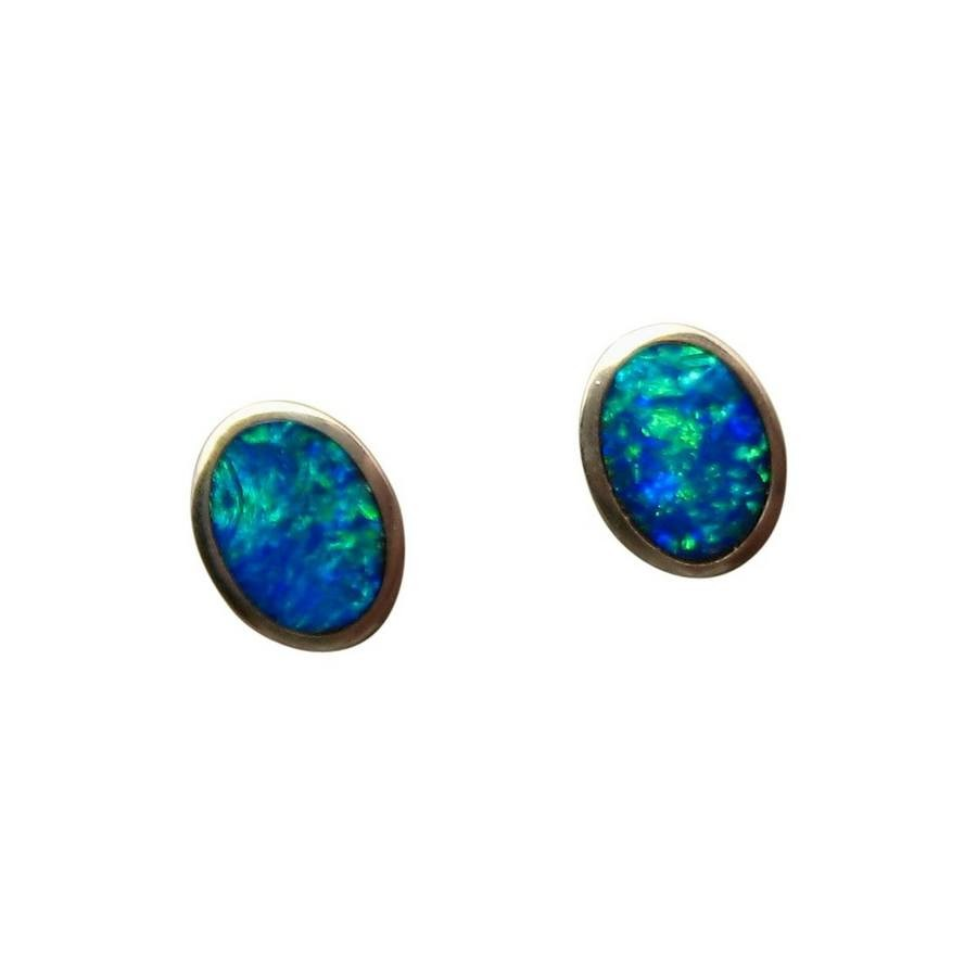 studs black earrings flashopal real semi oval gold yellow opal jewelry stud